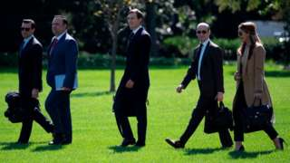 30 September - Top Trump officials, including Hope Hicks, travelled with Mr Trump to Minnesota