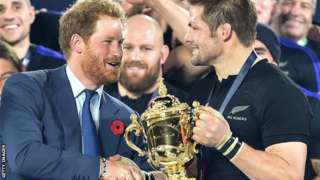 Prince Harry at the 2015 Rugby World Cup final