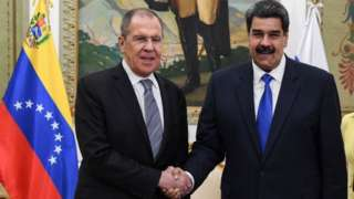 Russian Foreign Minister Sergei Lavrov (left) and Venezuelan President Nicolás Maduro in Caracas. Photo: 7 February 2020