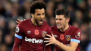 Felipe Anderson celebrates scoring against Huddersfield