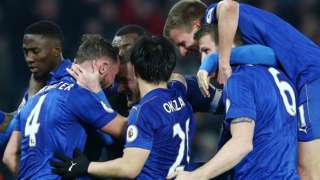 Leicester players celebrate Danny Drinkwater's goal