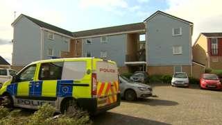 Police at the scene in Merlin Walk