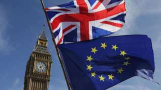 An EU flag and a Union flag is held by a demonstrator is seen in front of the Houses of Parliament in London