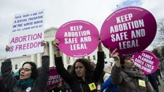 Pro-choice supporters protest outside the Supreme Court