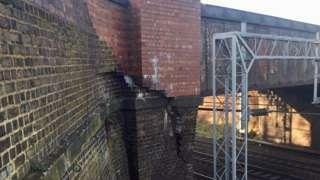 The damaged bridge