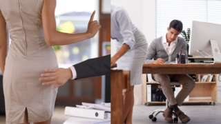 Sexual harassment at work - stock photo