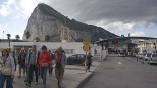 Gibraltar border, seen from La Linea, 3 Apr 17