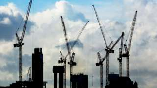 A general view of construction cranes on the London skyline.