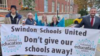 Protestors from the National Education Union outside Swindon Borough Council