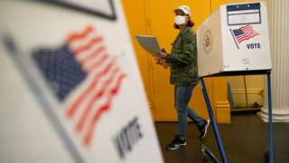 Voting booth, New York City, 22 June 2021
