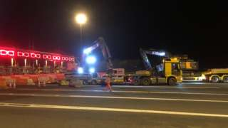 The toll booths of the M4 Prince of Wales bridge begin to be removed
