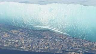 ภาพจำลองกำแพงน้ำแข็งยักษ์ที่สร้างขึ้นบนแผนที่เมืองดันดีในปัจจุบัน