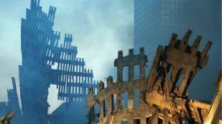 Wreckage of the World Trade Center September 13, 2001 in New York City