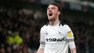 Scott Malone celebrate his winner for Derby