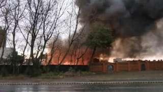 Blaze at the scene