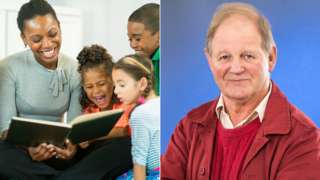 Woman reading to children and Michael Morpurgo