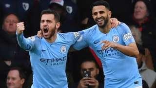 Bernardo Silva and Riyad Mahrez of Manchester City