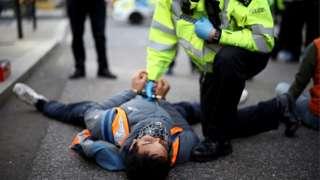 Insulate Britain protester in London