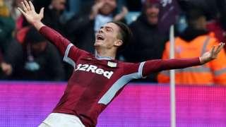 Jack Grealish celebrates his goal against Birmingham