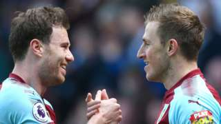 Chris Wood (right) celebrates scoring for Burnley against his former club Leicester City