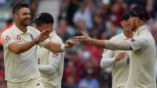 James Anderson celebrates a wicket with Ben Stokes