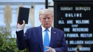 Trump pictured outside St John's Episcopal Church