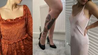 Screenshots of photos posted to platforms. Women wearing tops, shoes and dresses