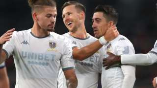 Leeds United celebrate Pablo Hernandez's goal