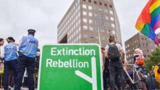 Mock road map showing extinction rebellion