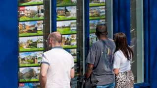 People looking in an estate agent's window.