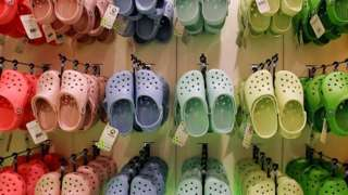 Wall of Crocs in flagship London store