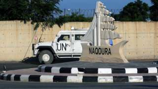 UN peacekeeping vehicle in the southern Lebanese town of Naqoura (14 October 2020)
