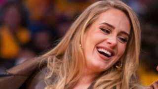 Adele attends a game between the Golden State Warriors and the Los Angeles Lakers on October 19, 2021