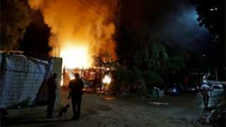 Scene of rocket-strike on empty bus in kibbutz Kfar Aza in Israel (12/11/18)