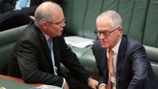 Scott Morrison and Malcolm Turnbull in Canberra's parliament in 2017