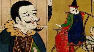 Ilustração de portugueses que atuavam no Japão, capitães de barcos de escravos