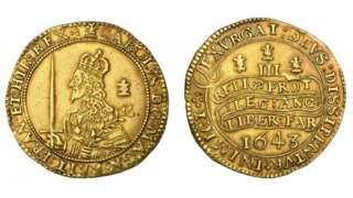 Tripe Unite coin from the reign of Charles I