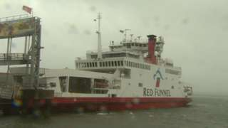 Red Funnel Red Eagle ferry in port