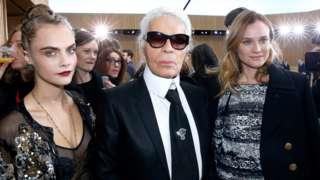 Cara Delevingne, Karl Lagerfeld and Diane Kruger