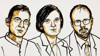 스웨덴 한림원 노벨상위원회는 14일 올해 노벨 경제학상 수상자로 인도 출신의 아브지히트 바네르지 교수, 프랑스 출신의 에스테르 뒤플로 교수, 그리고 미국 출신의 마이클 크레이머 교수 등 3명을 공동 선정했다고 밝혔다