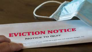 Eviction notice and mask