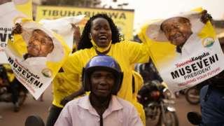 Celebrating Yoweri Museveni's victory