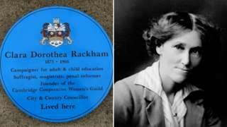 Blue plaque & Clara Rackham