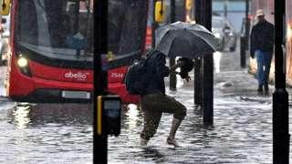 Flooding in London on 25 July 2021