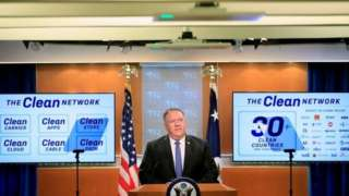 """美國國務卿蓬佩奧周三(8月5日)宣佈進一步加大""""淨網行動""""(Clean Network)。"""