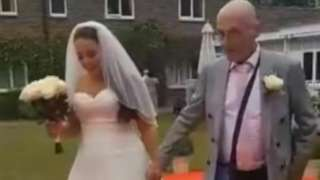 Kayleigh and her father on her wedding day