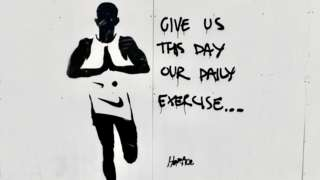 'Give us this day our daily exercise' graffiti