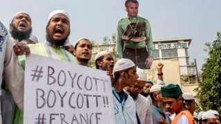 Protest calling for the boycott of French products and to denounce French President Emmanuel Macron in Dhaka, Bangladesh, October 27, 2020