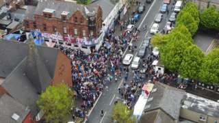 An aerial shot of Rangers fans gathered at Shankill Rd
