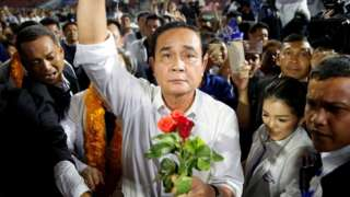 Thailand's Prime Minister Prayut Chan-o-cha at a Palang Pracharath Party campaign rally in Bangkok on March 22, 2019